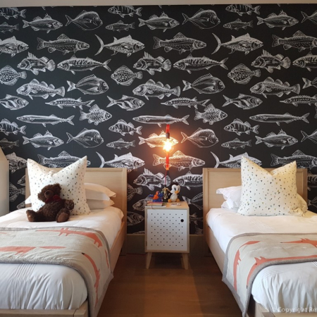 Wallpaper installation, Lighting, scatters, fish concept